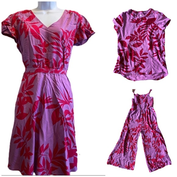 Like new purple & pink floral jumpsuit L